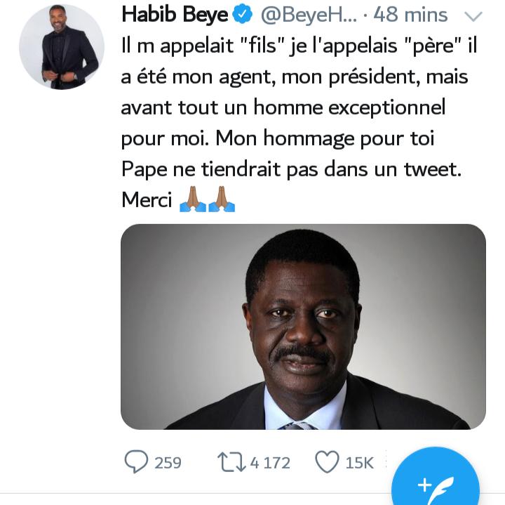 Décès de Pape Diouf, ancien pdt de l'OM: l'émouvant message de Habib Bèye