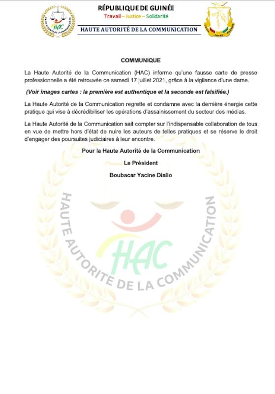 Falsification de la carte de presse professionnelle : la HAC menace -  224infos.org